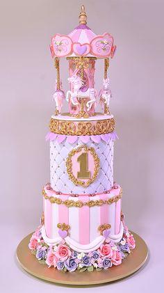 Carousel Cake Tutorial - How to make a Carousel Cake In this tutorial, we are g. Carousel Cake Tutorial – How to make a Carousel Cake In this tutorial, we are going to make a 2 Carousel Birthday Parties, Birthday Cakes For Teens, Circus Birthday, Circus Party, Fancy Cakes, Cute Cakes, Rapunzel Birthday Cake, Carousel Cake, Carousel Party
