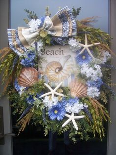 WELCOME to the BEACH  XL Summer Seashell Wreath via Etsy