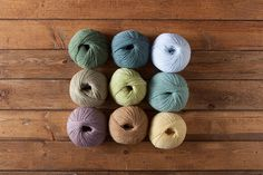 Country Cottage - Palette Value Pack  9 full-sized ball of Palette (1 each in Suede, Spearmint, Green Tea Heather, Custard, Opal Heather, Clarity, Sagebrush, Seraphim, and Sea grass.