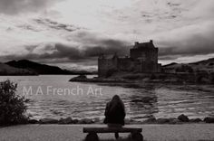 Girl on the bench, Scotland, A3 Digitally altered mounted photo