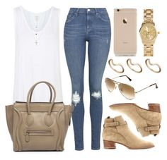 """""""Style #8899"""" by vany-alvarado ❤ liked on Polyvore featuring Topshop, CÉLINE, Yves Saint Laurent, Ray-Ban, ASOS and H&M"""