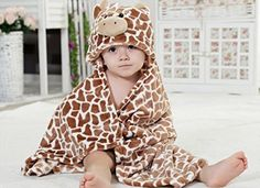 Luk Oil Spring Autumn Kid Baby Girl Boy Bathrobe Towel Cloak Brown Giraffe Cartoon Ultra-soft Flannel Baby Blanket Suitable for 0-2 Years Old