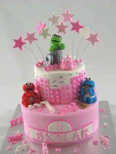 pink sesame street cakes | pink_sesame_street_1st_birthday_cake-cakesisters