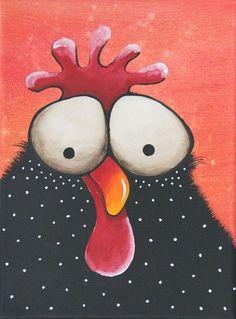 "Original acrylic canvas painting whimsical bird folk art grumpy chicken 9x12"" #IllustrationArt"