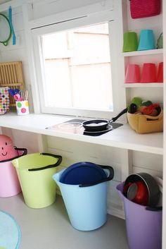 """play """"kitchen"""" out of just a shelf. A Shelf, Shelves, Kids Cubbies, Wendy House, Playhouse Outdoor, Kiosk, Kid Spaces, Play Houses, Playroom"""