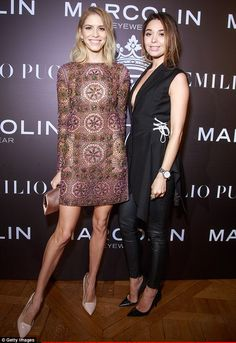 Gorgeous: Elena Perminova (left) attends the Emilio Pucci eyewear launch cocktail and dinn...