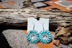 Kingman Turquoise Hoop Earrings by NativeAmericanBling on Etsy