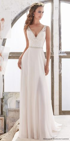 morilee spring 2017 bridal sleeveless v neck heavily embellished bodice elegant sheath wedding dress open v back chapel train (5505) mv
