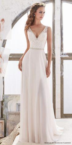 morilee spring 2017 bridal sleeveless v neck heavily embellished bodice elegant sheath wedding dress open v back chapel train (5505) mv