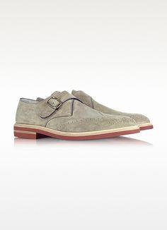 Fratelli Borgioli Clay Brown Suede Monk Strap Shoes | FORZIERI