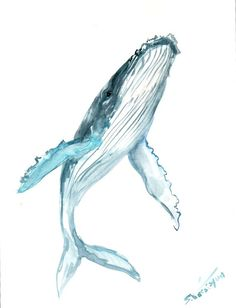 Humpback Whale, Original watercolor painting, 12 X 9 in, vertical orientation, whale lover art, sea animal art