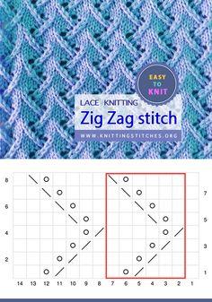 Zig Zag stitch pattern Easy To Knit Leaf Knitting Pattern, Beginner Knitting Patterns, Dishcloth Knitting Patterns, Knitting For Beginners, Lace Knitting, Knitting Stitches, Knitting Designs, Knitting Projects, Knitting Ideas
