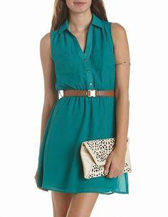 Belted Chiffon Shirt Dress: Charlotte Russe