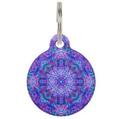 #Purple And Blue Vintage Kaleidoscope   Dog Cat Tag - #Petgifts #Pet #Gifts #giftideas #giftidea #petlovers