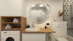 Projekty EKK Pracownia Projektowa Mirror, Bathroom, Furniture, Home Decor, Washroom, Decoration Home, Room Decor, Mirrors, Full Bath