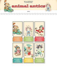 Digital retro animal tickets / collage sheet / three sizes /