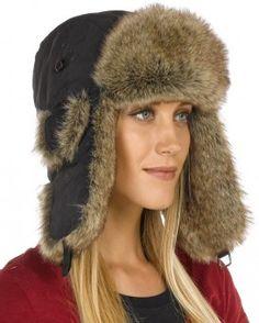 Womens Black Taslon Faux Fur Trapper Hat Russian Hat 0e1aad75b69d