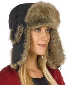 517dec08a511b Womens Black Taslon Faux Fur Trapper Hat Russian Hat