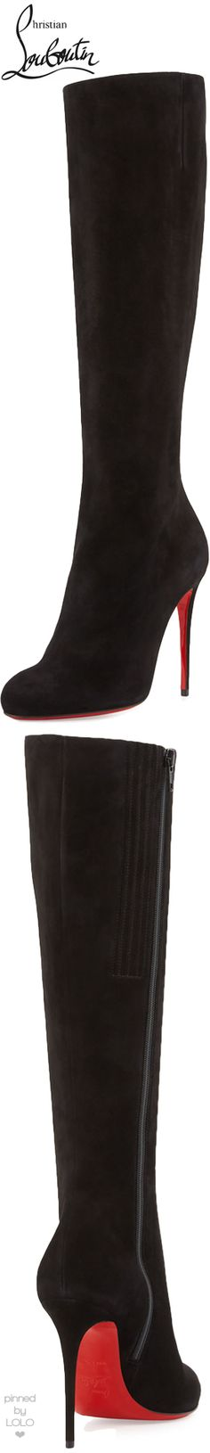 Christian Louboutin Fifi Botta Suede Red Sole Knee Boot, Black