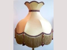 Luxury Handmade Katie Gold and Ruby with Beaded Tassel Lamp Shade Featuring in programmes such as Downton Abbey