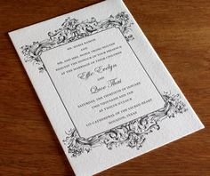 Your guests are sure to swoon over your Baroque wedding invitation design and matching enclosure cards.