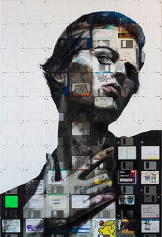 Floppy Disk Portraits by Nick Gentry: it would be nice if, in a museum installation, we could see the files on the disks (I'd like to think the disks were hers)