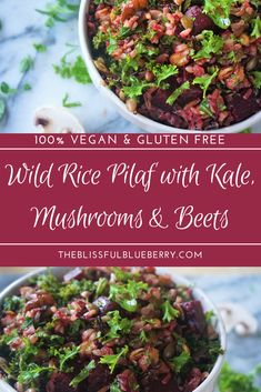 Wild rice pilaf with kale, mushrooms & beets 😊  Perfect if you've got a fridge full of random leftovers like rice and veggies that need to be eaten!
