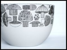 Vintage Finel Enamelware Mushroom Bowl Designed by Kaj Franck