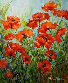 """Rain Blossom Poppy Painting by Texas Flower Artist Nancy Medina"" - Original Fine Art for Sale - © Nancy Medina"