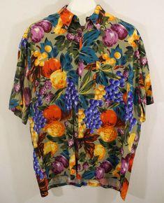 c9618ad4 Burma Bibas Fruit Hawaiian Shirt Apples Pears Grapes Floral Bright Colorful  XL #BurmaBibas #Hawaiian