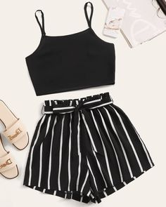 Shein Crop Cami Top With Striped Self Tie Shorts Source by ShopStyle Outfits shorts Cute Lazy Outfits, Teenage Girl Outfits, Crop Top Outfits, Girls Fashion Clothes, Summer Fashion Outfits, Simple Outfits, Cute Fashion, Pretty Outfits, Stylish Outfits
