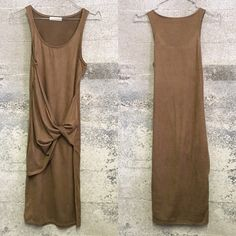 Sueded maxi dress with twist detail In great condition. Similar to Zara styles Zara Dresses Maxi
