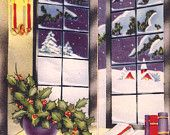 Vintage Christmas Card Books Candles Holly Window
