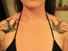 swallows on chest tattoo girls - Google Search