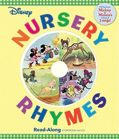 """Disney Nursery Rhymes Read-Along Storybook and CD:   DIV /DIVDIVEveryone knows that Old King Cole is the merriest soul and that Jack is nimble, quick, and likes to jump over candlesticks. Now little ones can follow along word-for-word as Mickey and friends introduce them to classic Mother Goose rhymes. Sturdy board pages, a padded cover, and one rhyme per page make this ideal for the youngest group. This delightful book and CD set offers a Disney take on everything from I style=""""mso-bi..."""