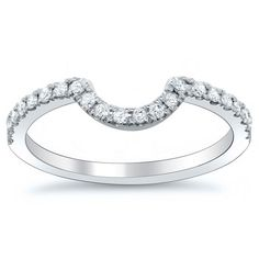 Curved diamond wedding band..perfect for round or oval engagement rings.