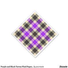 Purple and Black Tartan Plaid Paper Napkins