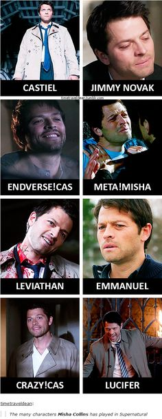 up to s11 [gifset] - The many characters Misha Collins has played in Supernatural - I can't pick a favorite... I don't even think I could name one I didn't like