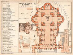 Saint Peter Basilica Architectural Floor Plan Vatican City