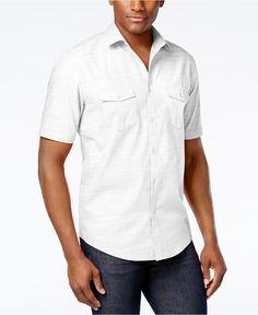 Alfani Short Sleeve Warren Textured Shirt - Casual Button-Down Shirts - Men - Macy's Casual Shirts For Men, Casual Button Down Shirts, Men Casual, Summer Family Portraits, Guayabera Shirt, Wedding Shirts, Men's Wardrobe, Men Online, Modern Man