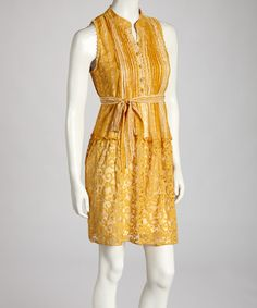 Take a look at this Yellow Belted Dress by Ryu on #zulily today!