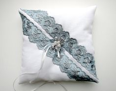 Wedding Ring Bearer Pillow Bridal accessories White linen Gray Lace Ribbon Embroidered FREE with order over 250 dollars