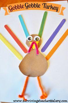 Thanksgiving Turkey Craft for Kids - Gobble Gobble