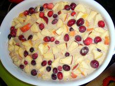 Jáhlový nákyp s jablky a brusinkami
