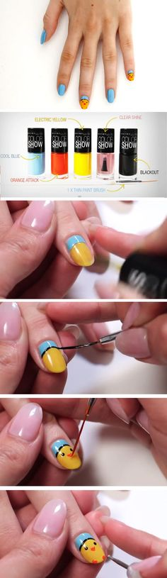 Easter Chicks | Click Pic for 16 Easy Easter Nail Designs for Short Nails | DIY Nail Art for Teen Girls