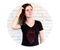 Strawberry Graphic Tee Shirt Ladies Sporty Vneck by CausticThreads