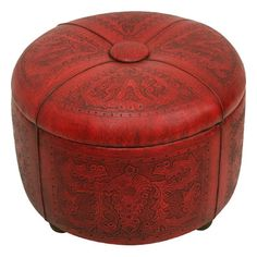 New World Trading Colonial Bouquet Leather Storage Ottoman Upholstery: Leather Pouf Ottoman, Upholstered Storage Bench, Tufted Ottoman, Chair And Ottoman, Red Ottoman, Square Ottoman, Burke Decor, Home Living, Living Room