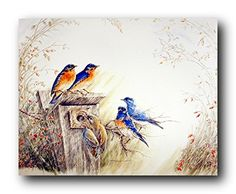 Perfect! Grace your wall with these stunning bluebirds on tree art print wall poster. This poster depicts the image of bluebirds sitting on tree resting atop will surely greet you with sweet songs every time you enter your home! It will be a perfect addition and a wonderful way to enhance the beauty of your home décor. So Hurry up and buy this charming wall poster for its wonderful paper quality with perfect color accuracy.