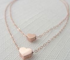 Double strand Heart Necklace - Rose Gold - Trend Uncovet