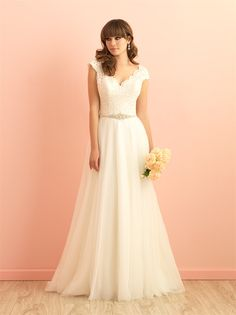 Allure Romance 2851 - Dream a little dream of this lace-capped A-line dress. It's perfect for the fairytale-inclined bride.